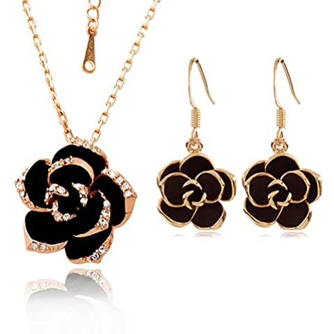 [Jewellery Set] Yoursfs Sexy Black Rose Jewellery Sets Golden Edge Black Flower Pendant on 18ct Gold Plated Paved Austrian Crystals Necklace & Earring Sets Women Dress Jewellery