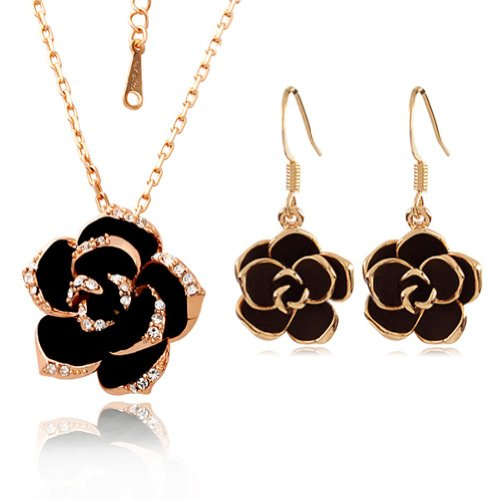 - 41ctTXKLrcL - [Jewellery Set] Yoursfs Sexy Black Rose Jewellery Sets Golden Edge Black Flower Pendant on 18ct Gold Plated Paved Austrian Crystals Necklace & Earring Sets Women Dress Jewellery Sets  - 41ctTXKLrcL - Deal Bags