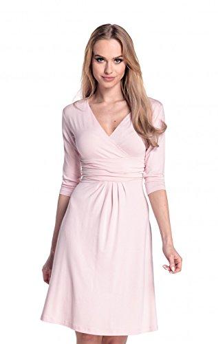 Glamour Empire. Damen Gerafftes Kleid Skaterkleid mit V-Ausschnitt. 282A Pulver Rosa