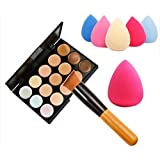 Fortan 15 colores de maquillaje paleta de contorno de Concealer + Agua Esponja Puff + cepillo del maquillaje