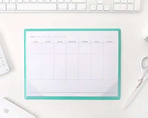 Simple Desktop Weekly Planner Pad Undated Calendar Desk Pad Organizer Schedule Agenda Clear PVC Cover Mouse Pad To do list notepad, 28 Sheets, 10.6 X 7.9 (Mint) by b_odd supplies (Clear Desk Pads)