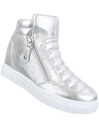 9c00e333da5c34 Damen Freizeitschuhe Schuhe Keilabsatz Wedges Sneakers Stiefelette Bronze  Rosa Silber 36 37 38 39 40 41