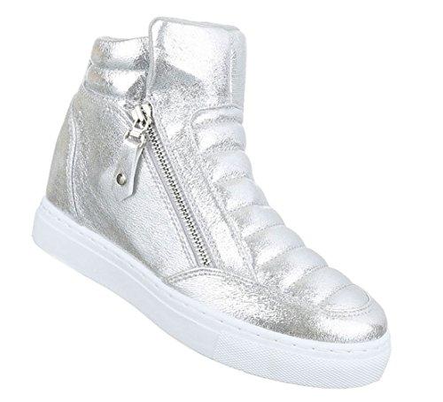 Damen Freizeitschuhe Schuhe Keilabsatz Wedges Sneakers Stiefelette Bronze Rosa Silber 36 37 38 39 40 41 Silber