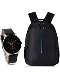 BLUTECH Combo of Stylsih Black Color Dial Watch with Black Waterproof HP Bag for Men & Boy's