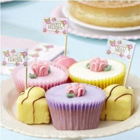 Per cupcake con bandierine, motivo: Rose Vintage