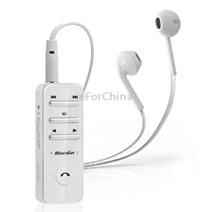 Bluedio i4 White, Sleek Design Multipoint Connect Bluetooth V3.0 Stereo Headset with Earphone and Clip, Support A2DP AVRCP HSP Profiles