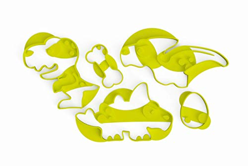 3DREAMS 5er Ausstechformen Set Dinosaurier - Dino Keksausstecher Set - Ausstecher für Kekse - Bentos oder als Tortendeko - Bio-Kunststoff lebensmittelecht - BPA frei
