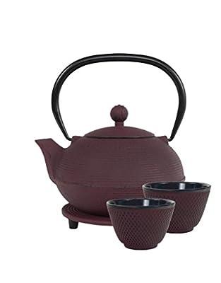 Teaclassix Ganzou Service à Thé en Fonte Fuchsia. Avec 1 Théière 0,9 l traditionnelle japonaise avec filtre , 2 Tasses et 1 Dessous de Théière.