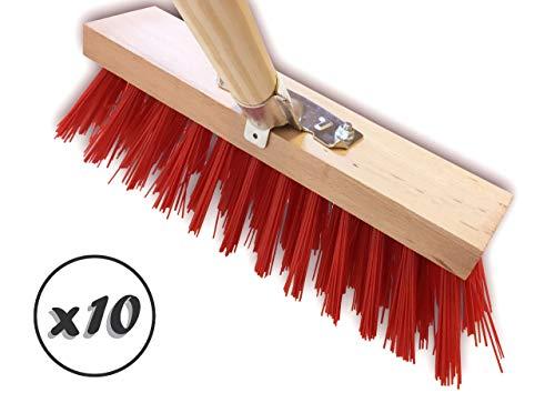 KIBROS 10LOT2630BM | Lot de 10 Balais de cantonnier Longueur 32 cm | Garnissage Brosse PVC Rouge | Douille métal à vis | Manche Bois 1,40 mètre, Largeur diamètre 28 mm