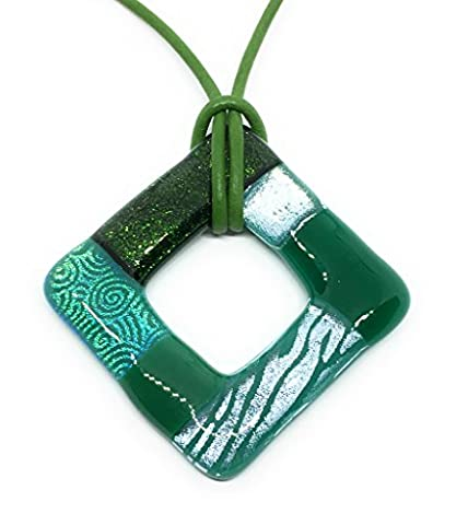Handmade Fused Glass Dichroic Glass Pendant - Shades of Green, 4cm x 4cm & Includes Gift Box