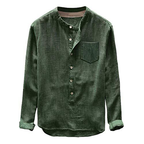 Sumeiwilly Herren Leinenhemd 3/4 Ärmel Männer Einfarbig Henley Freizeithemd Sommer Casual Hemd Regular Fit Shirt Oberteile in Vielen Farben (Sleeve V-neck 3/4 Hemd)