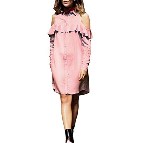 LILICAT Frauen Blusenkleid Aus Schulter Mode Shirtkleid Damen Strandkleid Plissee Tunika Kurzarm Lange Casual Chic Tops Freizeit Hemd (L, Rosa) (Short Sleeve Mädchen Ringer)