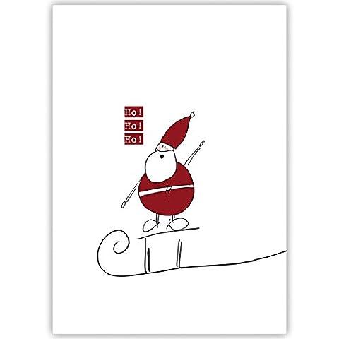 4er Set Lustige Unternehmen Weihnachtskarten mit fröhlichem Weihnachtsmann auf Schlitten, innen blanko/ weiß als Weihnachtsgrüße geschäftlich / Neujahrskarte / Firmen Weihnachtskarte für Kunden, Geschäftspartner, Mitarbeiter: Ho Ho Ho