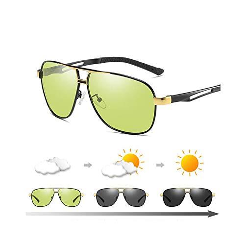 Sportbrillen, Angeln Golfbrille,Photochrom Sunglasses Men Pilot Polarisiert Sun Glasses Retro Aviation Night Vision Glasses For Men's Chameleon Eyewear gold frame black
