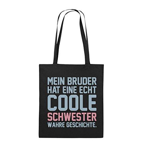 Comedy Bags - Mein Bruder hat eine echt coole Schwester wahre Geschichte. - Jutebeutel - lange Henkel - 38x42cm - Farbe: Schwarz / Weiss-Neongrün Schwarz / Eisblau-Rosa