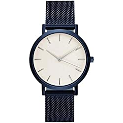 KEERADS Quartz Watch with Analogue Display and Stainless Steel Strap Blue