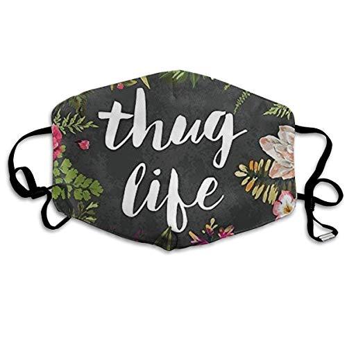 Masken für Erwachsene Waschbare wiederverwendbare MundMaskene, Thug Life Flowers Reusable Anti Dust Face Mouth Cover Mask Protective Breath Healthy Safety