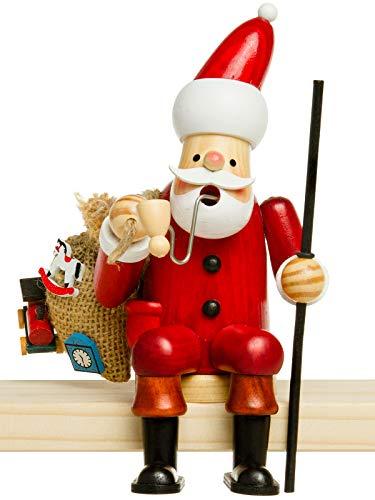 Sikora RM-A Kantenhocker Holz Räuchermännchen H:16,5 cm - Verschiedene Motive, Größe:Höhe ca. 16.5 cm, Farbe/Modell:A01 Kantenhocker Rot - Weihnachtsmann