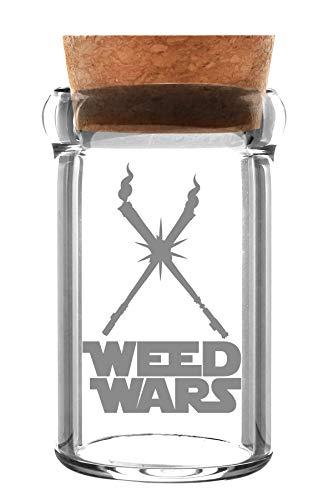 """Weedstar Contenitore di vetro, con logo \""""Weed Wars\"""" e sughero, volume ca. 135ml"""