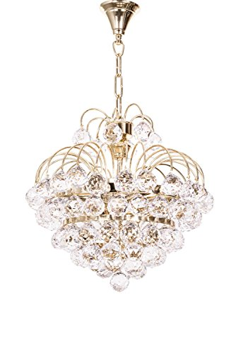 Fos Lighting Golden Fountain Crysal Ball 3 Light Chandelier