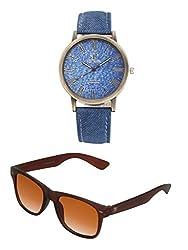 Big Tree Casual Analogue Blue Dial Blue Denim Leather Belt Mens & Womens Unise Watch & BIG Tree Cinnamon Brown Color UV Protected Wayfarer Sunglasses Goggles Combo Set