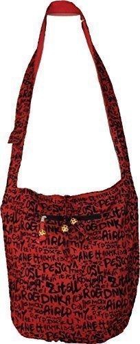 Neu Damen Baumwolle Ethnisch Tribal Mehrfarben Schultertasche Umhängetasche College Tasche - Rot alphabete, Baumwolle Rot alphabete