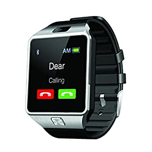 Mobilefit Bluetooth Smartwatch (Silver) With Camera & Sim Card Support & Supporting Apps Like Twitter, Whats App, Facebook, Touch Screen Multilanguage Android/IOS Mobile Phone Wrist Watch Phone with activity trackers and fitness band features Compatible for HTC Desire 516