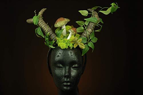 Hörner Kopfschmuck LARP Pollenspiele Faun Kostüm Fantasie Kopfbedeckung Wald Hexe Druidenkostüm (Wald Hexe Kostüm)