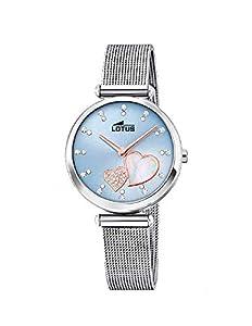 Lotus 18615/2 - Reloj Analógico para Mujer, de Cuarzo con Correa en Acero Inoxidable, Azul