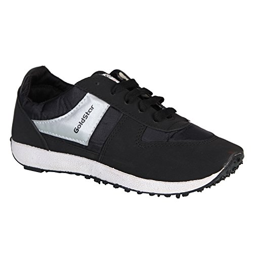 Gold Star Mens Mesh Black Running and gym Shoes (7 UK, BLACK)  available at amazon for Rs.475