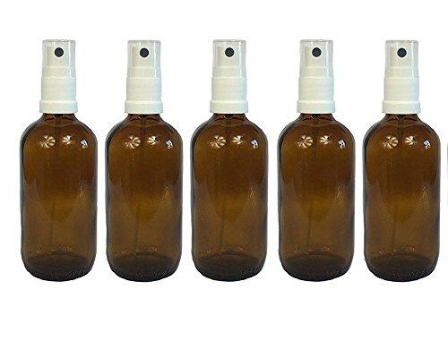 Apotheker Braunglas (hocz Apotheker-Sprühflasche aus Braunglas Zerstäubereffekt 5 teilig | Füllmenge 100 ml | Fingerzerstäuber Sprühflaschen Pumpsprüher Kleine Glasflaschen Parfümzerstäuber Made in Germany)