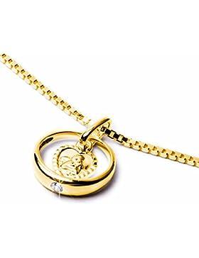 Schmuck Klein Goldener Taufring mit Schutzengel herzförmig Zirkonia weiß Ø 12 mm 333/- Gold Taufgeschenk