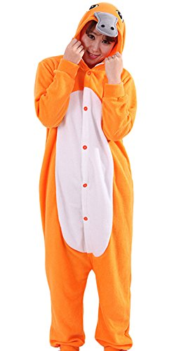 Kigurumi Onesie Pyjama Tier Jumpsuit Fasching Damen Herren Karneval Cosplay Nachtwäsche (Schnabeltier Kostüm)
