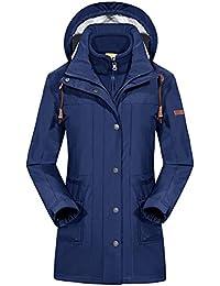 emansmoer Femme 3 en 1 Coupe-Vent Capuche Hiver Longue Manteau Imperméable  Outdoor Sport Veste d9b1a988a3b0
