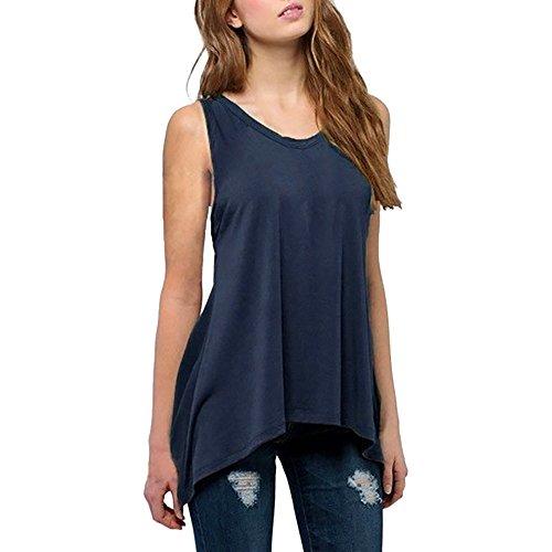 Top Damen Einfarbig Rundhalsausschnitt Ärmelloses Plus Size Sommer Beiläufige Weste Casual Tops T-Shirt Blusen Trägershirt(Marine,XL)