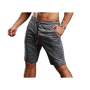 CLOUSPO Sporthose kurz Herren grau hochwertig bequem mit Reißverschlusstasche Sport Shorts Jogginghose kurz für Laufsport, Outdoor Sport, Workout(Verpackung/MEHRWEG)