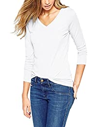 ISASSY T-shirt Femme Manches Longues Basique Top Haut Col V