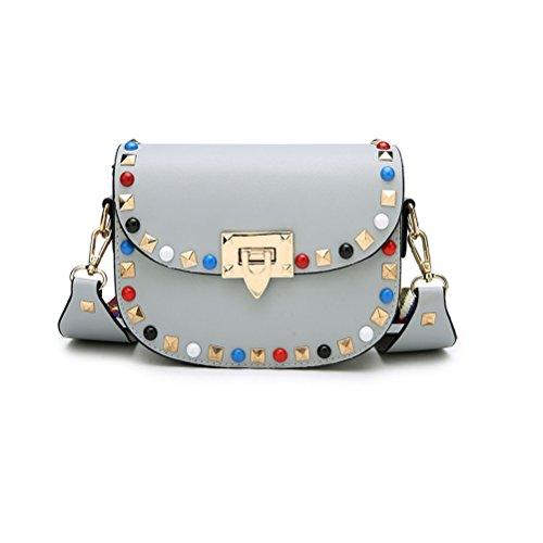 Umily PU Leder lässig Schultertasche Messenger Bag und Schultergurt aus farbigem Stoff 19-35 inch Strap-Grau (Vuitton Handtasche Louis Canvas)