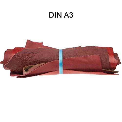 Lederreste Lederstücke extragroß A3 1kg Varianten von roten Farbtönen , alle Stücke mind. DIN A3 groß von Langlauf Schuhbedarf