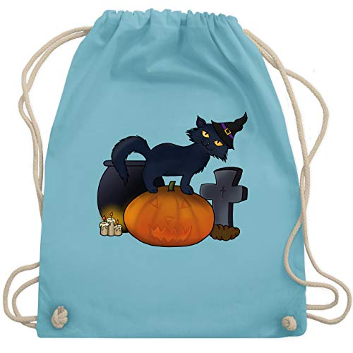 Halloween - Halloween Katze mit Hexenhut - Unisize - Hellblau - WM110 - Turnbeutel & Gym Bag (Katze Halloween Namen)