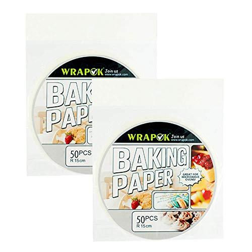 WRAPOK 6 Pouces Papier Vapeur Bambou Parchemin Rond Perforé De Lingettes En 100 Count Anti-Adhérent Pour Air Frying Baking Cuisson à La Cake De Cuisine Cercle De Pans
