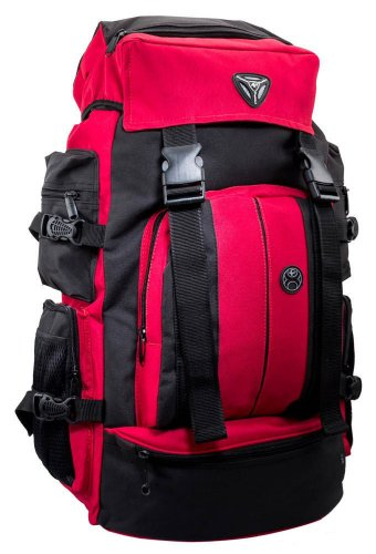 President Pyramid Polyester 35 Liters Black And Red Hiking Bag