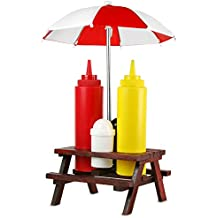 Mactrade-Set Dispenser Salse Maionese E Ketchup Bbq Pic Nic Barbecue Griglia Party Sale Con Mini-Ombrellone Saliera Pepiera + Bottiglia Senape E Ketchup - Bbq Spice
