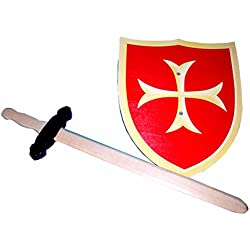 Ritter Set Escudo y espada de madera Juguete Accesorios para Carnaval