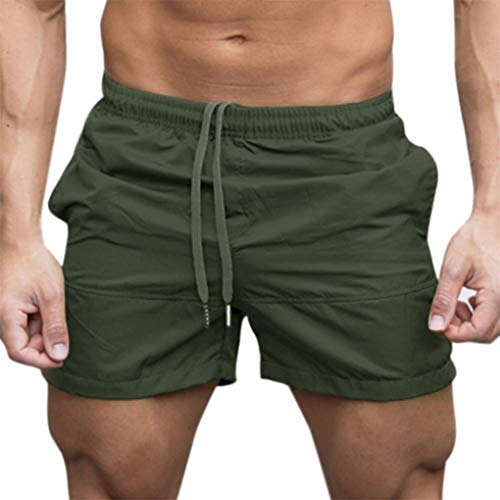 Gym Shorts für Herren, Skxinn Männer Sport Training Bodybuilding Sommer Brief Pants Workout Fitness Gym Kurze Jogging Hosen M-XXL Ausverkauf(Armeegrün,X-Large)
