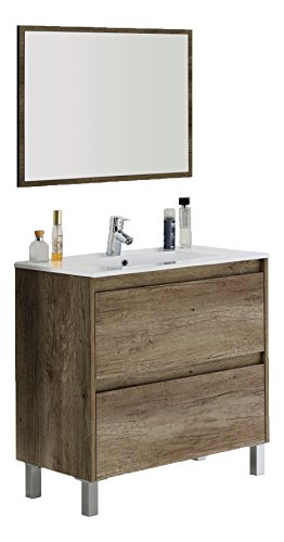 Foto de Arkitmobel Dakota 305040H, Mueble de baño con espejo, 80 x 80 x 45 cm, color nordik
