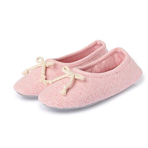 Gaatpot Faltbare Ballerinas Comfort Freizeit Flats Schuhe Indoor Strick Hausschuhe Baumwolle Gymnastikschuhe mit Rutschfester Sohle für Damen