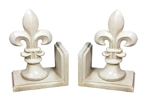 Buchstütze Französische Lilie Fleur-de-Lys 2 Stück Gusseisen Antik-Stil Weiß (Französische Bücherregal Antike)