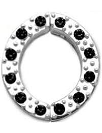 Brustwarzen Clip Schmuck mit klaren oder schwarzen Zirkonia Kristall Steinchen. 925 Sterling Silber, Fake Piercing - PNCR04 Brustwarzen Clip Schmuck
