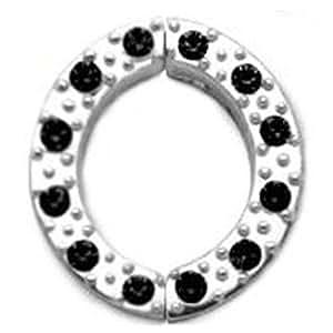 Brustwarzen Clip Schmuck mit klaren oder schwarzen Zirkonia Kristall Steinchen. 925 Sterling Silber, Fake Piercing - PNCR04 Brustwarzen Clip Schmuck (Black (schwarz) / 12mm)